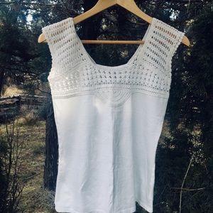 Eddie Bauer 🦠White XS Crochet Cotton Sleeveless